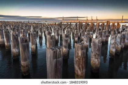 city Princes pier wooden stumps sunrise Port Melbourne harbour bay reflections
