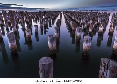 city Princes Port Melbourne Princes pier wooden stumps reflections calm bay harbour