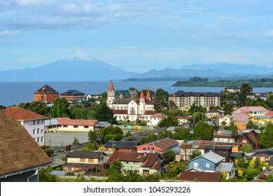 City of Puerto Varas, Llanquihue lake and Osorno volcano, Chile