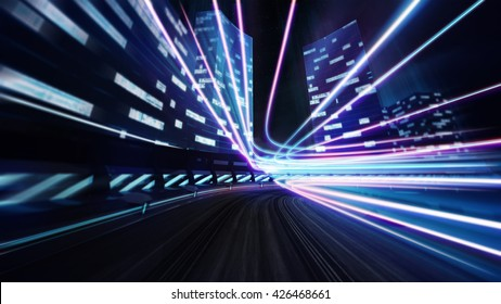 city racetrack road with colorful shine. city transportation and technology 3D illustration