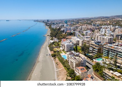 City resort on the coast. Aerial view of the city of Limassol.