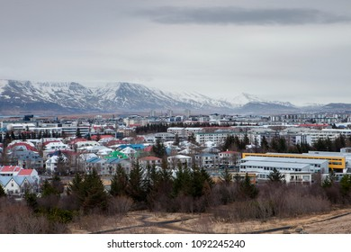The city of Reykjavik and Mount Esja in the European country of Iceland