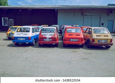 City Riga, Latvian republic. Oldtimer cars Fiat 126 at capital Riga.  Urban city view. Travel photo. 25 Jun 2019.