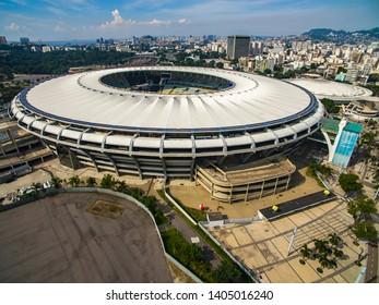 City of Rio de Janeiro, Brazil South America. 05/04/2019 Maracana Stadium. Brazilian soccer.  Football stadiums in the world. Maracana stadium with music event.