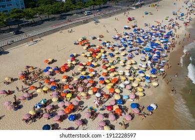 City of Rio de Janeiro - Brazil - December 2020: Aerial photo of the crowded beaches of Leblon.