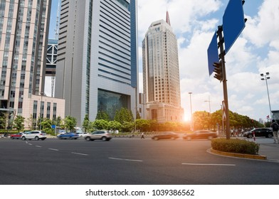 city road with cityscape in shanghai,china