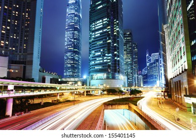 City with road at night