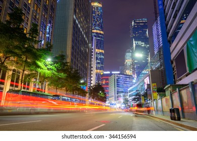 city road at night with dramatic light trails in guangzhou