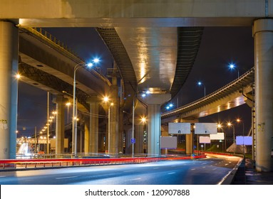 City Road overpass at night with lights in Moscow