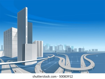 City Roads and the Buildings On The Background