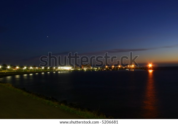 City of Ronne, harbor at night