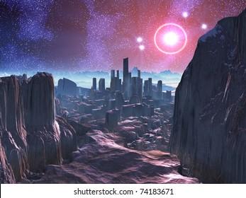 City Ruins on Hostile Alien Planet