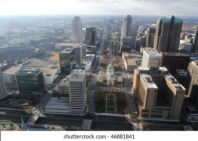 City of Saint Louis Missouri view of downtown seen from the top of the Arch