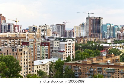 City Samara on top. A typical architecture of the city center. Russia