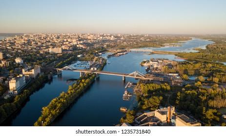City of Samara River and Bridges, aerial panoramic photo