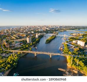 City Samara, Russia, river bank with bridges aerial view