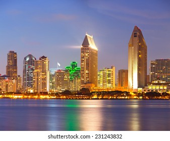 City of San Diego California, colorful illuminated downtown buildings sunset panorama