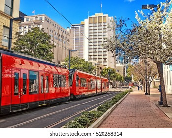 City of San Diego California United States of America downtown street view historical skyline landscape with rail track for modern city trolley on early springtime cityscape travel background theme