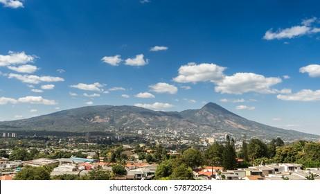City of San Salvador in El Salvador with view to the volcano.