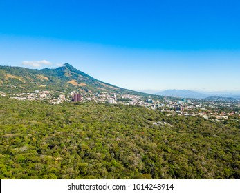The city of San Salvador, El Salvador viewed from an aerial perspective.