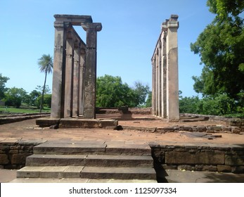 CITY sanchi , STATE madhya pradesh a state of india - july 1, 2018 : Temple 18 at Sanchi, an apsidal hall with Maurya foundations, rebuilt at the time of Harsha (7th century CE)