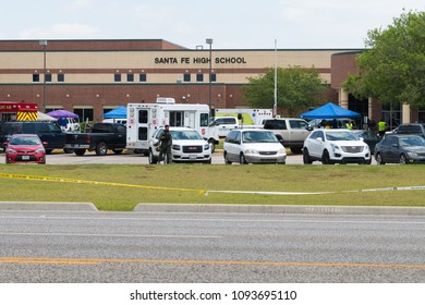 City of Santa Fe, Texas - May 18, 2018: Multiple Local, State and Federal, Enforcement Agencies Processing Active Crime Scene Following A Shooting In Santa Fe High School