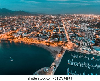 City of Santa Marta, night view from the air, Colombia