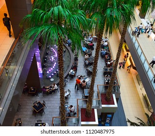 City of Santiago de Chile, Chile, 13 of April 2018. Costanera Center mall interior. View from the top inside the shopping for restaurants and shops. South America.
