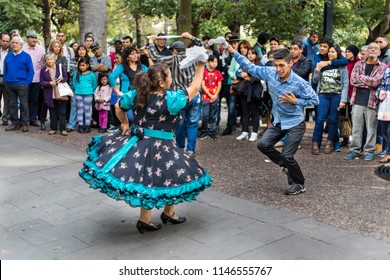 """CIty: Santiago de Chile Country: Chile 13th May 2017 Typical """"Cueca"""" dancers, the traditional dance in Chile and every 18th september because of National Holidays all the people go dancing"""