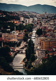 City of Sarajevo with river Miljacka