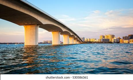 City of Sarasota, Florida across elevated bridge and bay