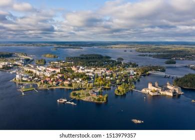 City Savonlinna bird's eye view, view of the castle Olavinlinna.