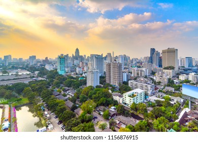 City scape of Buliding in afternoon,view from hight tower in business area around Rama4 road and Asoke Intersection of Bangkok, Thailand