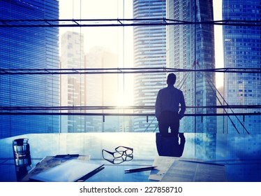 City Scape Businessman Thinking Concepts