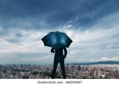 City Scape and businessman,Rainy day
