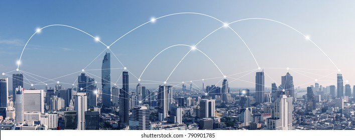 City scape with connecting dots for networking and communication.