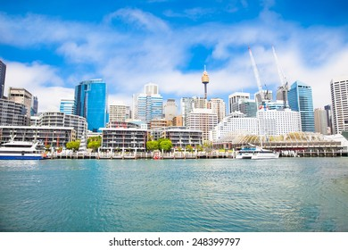 City scape of Darling Harbour in Sydney, Australia.The harbour is a large recreational and pedestrian precinct that is situated on western outskirts of the Sydney.