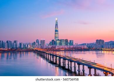City scape at han river seoul korea