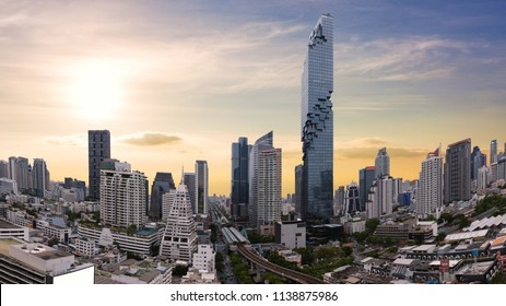 City scape of MahaNakhon building, skyscraper in the Silom/Sathon central business district of Bangkok as the tallest building in Thailand, panorama view