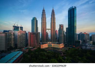 City scape of morning sunrise in Kuala lumpur city, twin tower, Kualalumpur, Malaysia