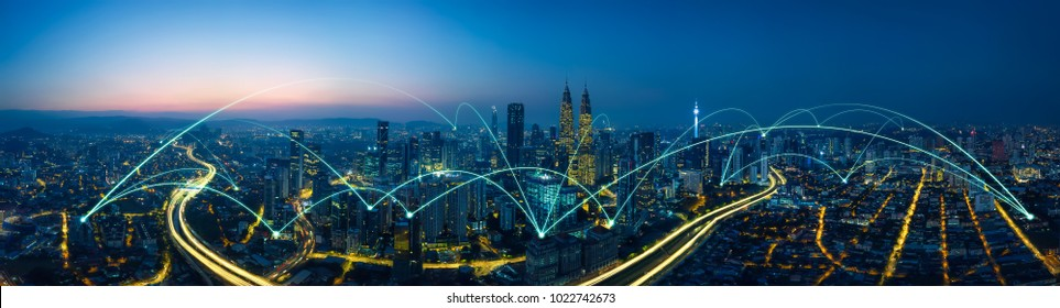 city scape and network connection concept - Shutterstock ID 1022742673