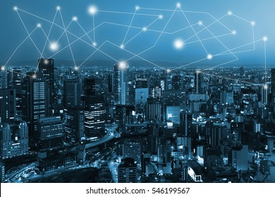 city scape and network connection concept for new global business. Blockchain connect