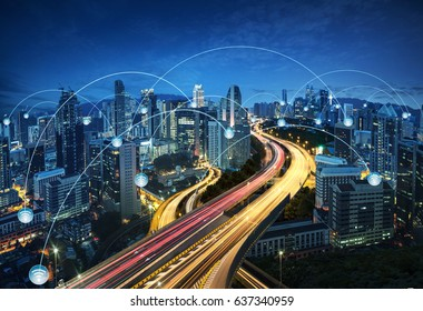 City scape and network connection concept