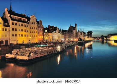 City scape on the Vistula River in historic city of Gdansk, Poland, Europe