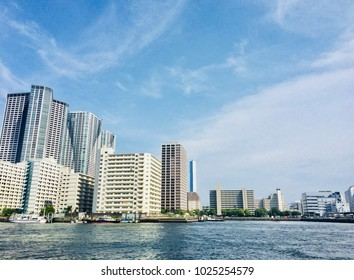 The city scape from the sea.