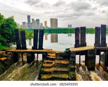 city scape shot with wooden bridge in Jewel of Navi Mumbai