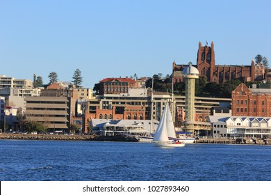 City scape view of Newcastle from harbour and Hunter River NSW Australia