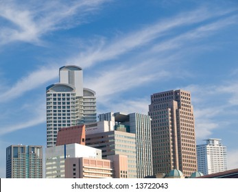 City scene with many tall office buildings
