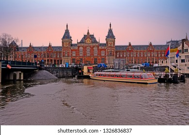 City scenic from Amsterdam in the Netherlands with the Central Station