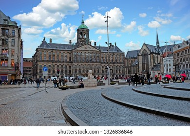 City scenic from Amsterdam in the Netherlands with the Dam Square